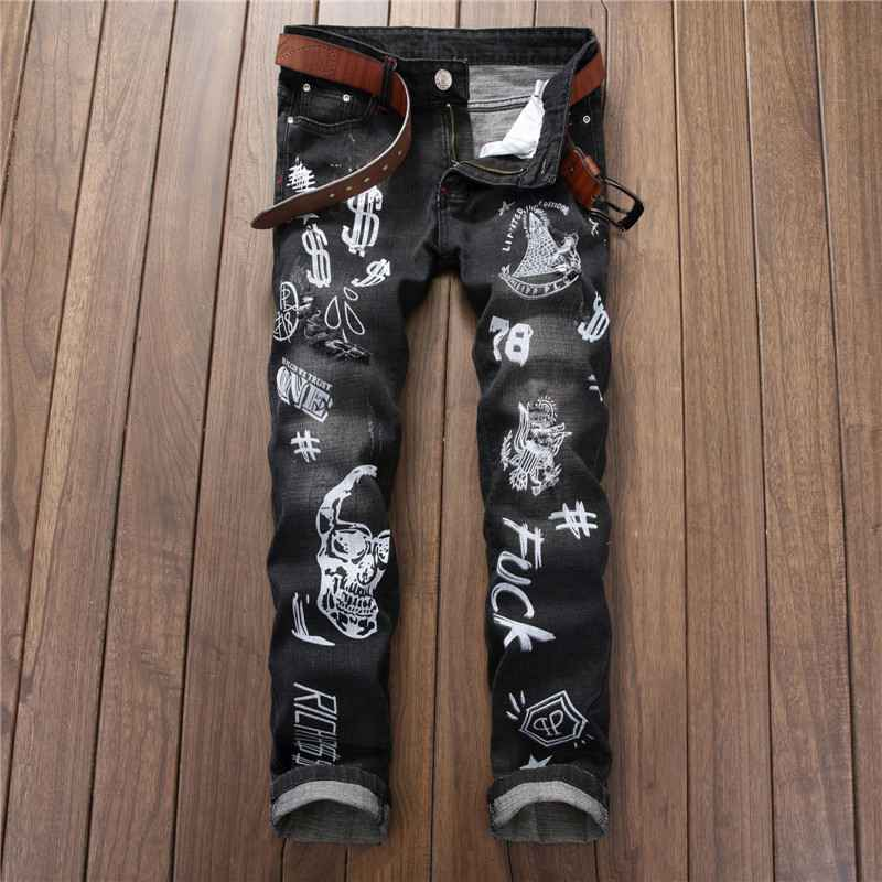 #2740 Skinny jeans Straight Black ripped jeans for men Fashion Mens printed jeans Vaqueros hombre Hip hop jeans Printed