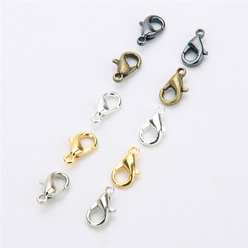 Home & Garden Store 100Pcs 10mm 12mm Lobster Clasps for Jewelry Making Necklace Bracelet Findings