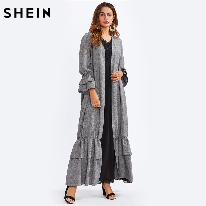 SHEIN Tiered Ruffle Bell Cuff and Hem Abaya Fall Womens Dresses Autumn Grey Long Sleeve Open Front Loose Maxi Dress