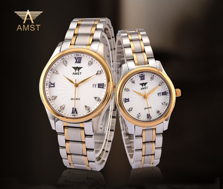 2018 AMST Brand Quartz Watch for couple lovers fashion stainless steel watches luxury roman number waterproof Wristwatches 2001