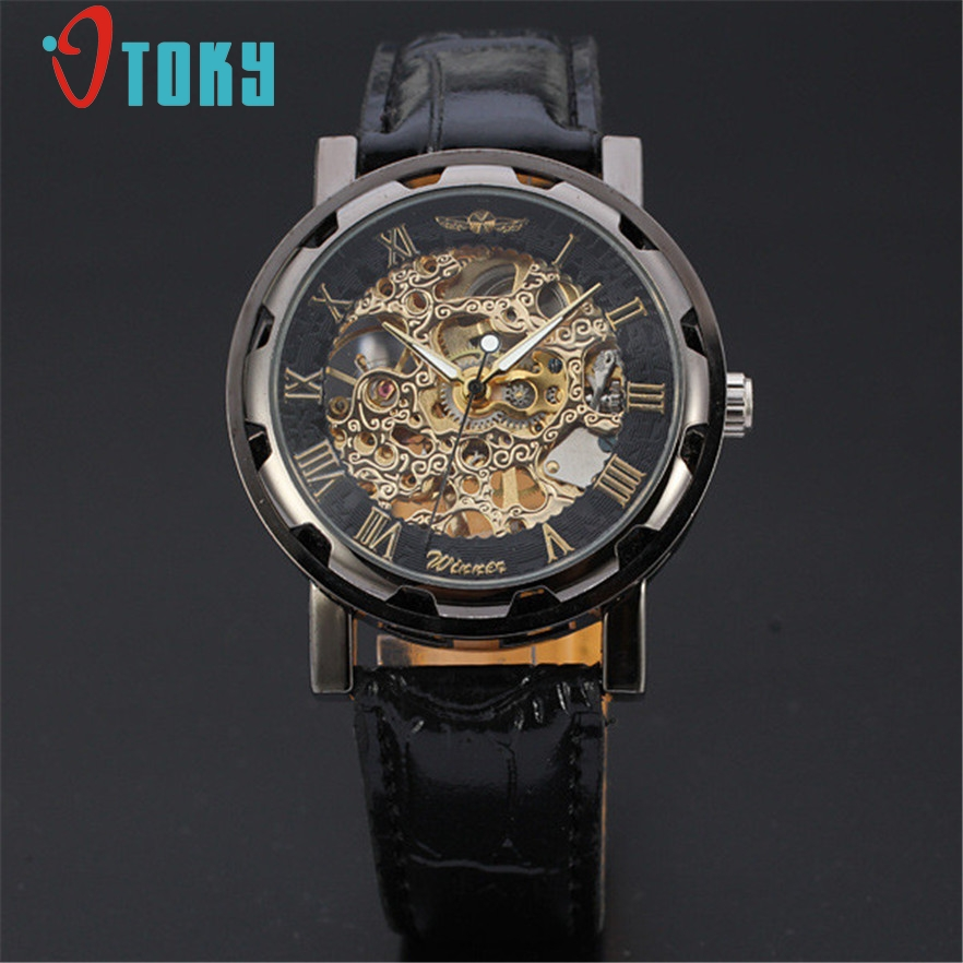 OTOKY horloges mannen watch font b men b font Fashion Leather mens skeleton font b Mechanical