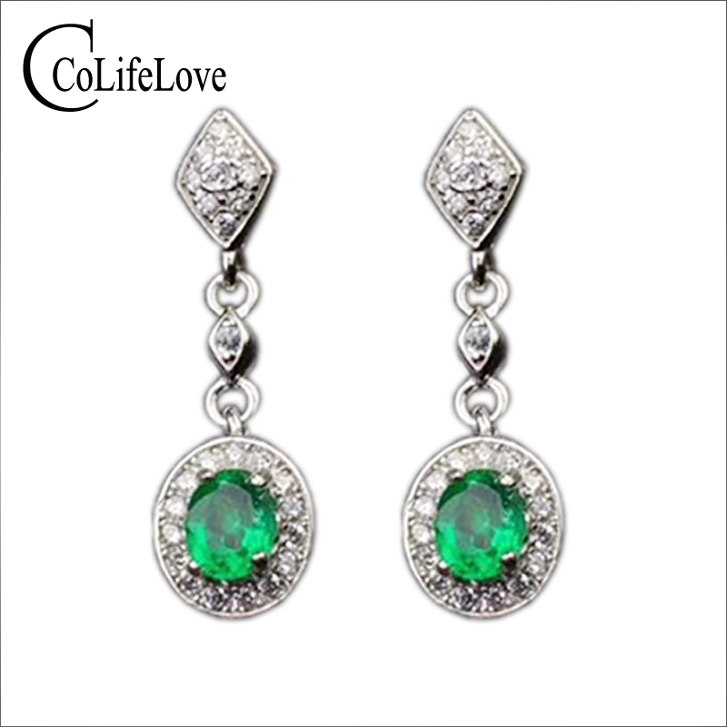 Elegant emerald drop earrings for wedding 4 mm * 5 mm natural emerald silver earrings solid 925 sterling silver emerald earrings simple design emerald stud earrings 4 mm 6 mm natural i grade emerald earrings classic 925 silver emerald earrings for woman