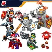 6pcs/lot Royal Knights Crust Aaron Jestro CLAY Lance NEXUS KNIGHTS Minifigures Building Blocks DIY Bricks Toys