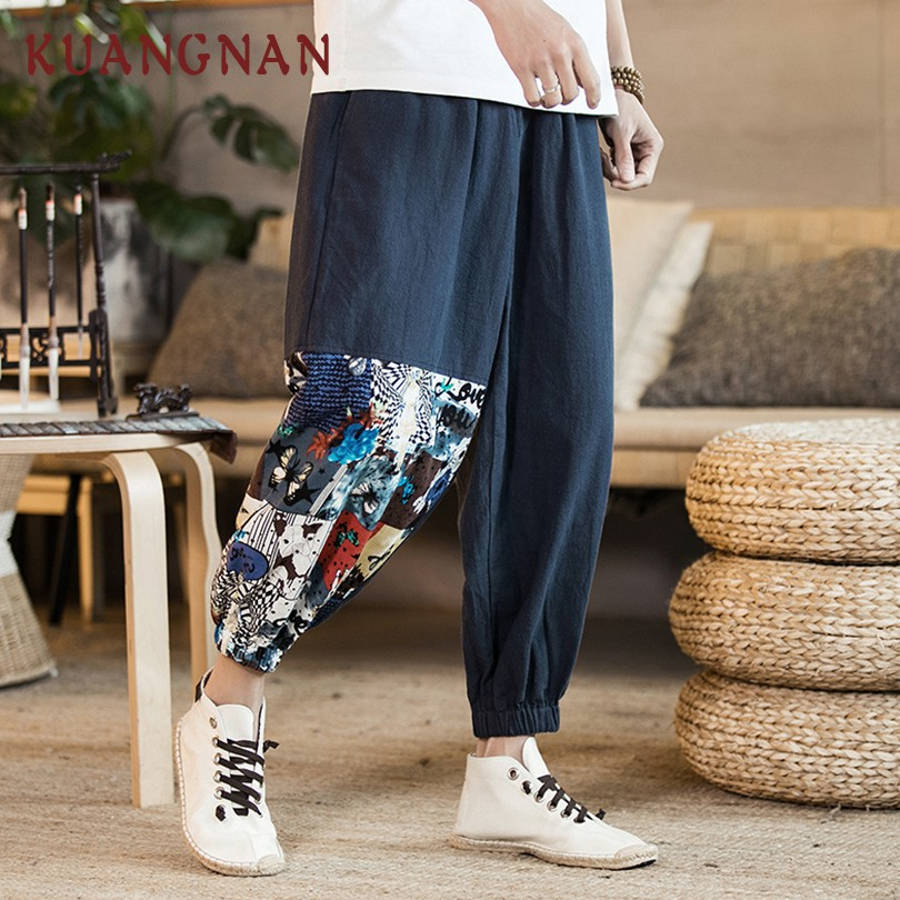 KUANGNAN Trousers Men Pants Ankle-Length-Pants Japanese Streetwear Patchwork Chinese-Style