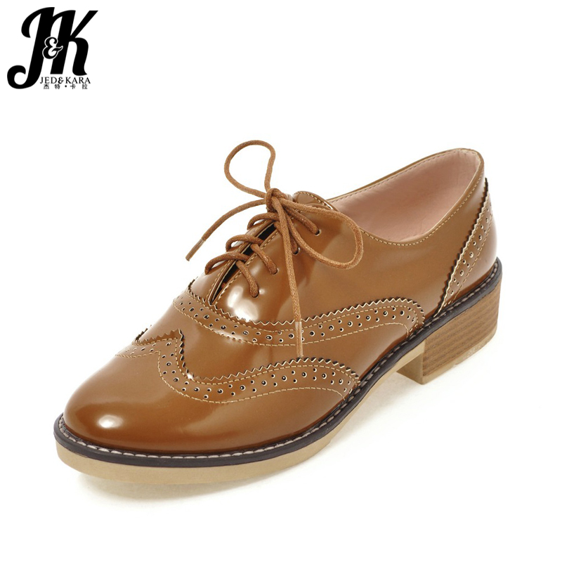 JK Thick Wood Heels Women Pumps Round Toe Cutout Lace Up Sewing Platform Footwear 2018 Spring Fashion Ladies Casual Oxford Shoes new leisure wedges women summer spring lace up fashion footwear female shoes comfortable women pumps ladies casual shoes dt1481