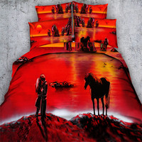 Free shipping 3d animal horse/cat/leopard/elephant 5pcs bedding with filling comforter set twin/full/queen/king/super king size