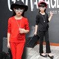 Crianças Roupas Meninas Conjuntos de Roupas de Cor Sólida Flor 3D Camisas de Manga Comprida + Calças Atender Crianças Roupas Meninas Calças Adolescentes