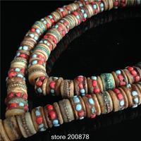 BRO776 Tibetan 108 Beads Oiled Yak Bone Prayer Beads Mala 13 9mm Tibet Traditional Buddhist Rosary
