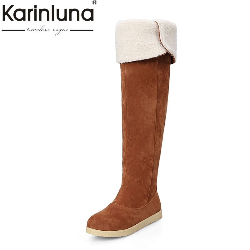 KARINLUNA Large size 33-42 2017 Winter Boots Warm Fur Shoes fashion Over Knee High Snow Boots flat heels comfort casual Platform doratasia big size 34 43 women half knee high boots vintage flat heels warm winter fur shoes round toe platform snow boots
