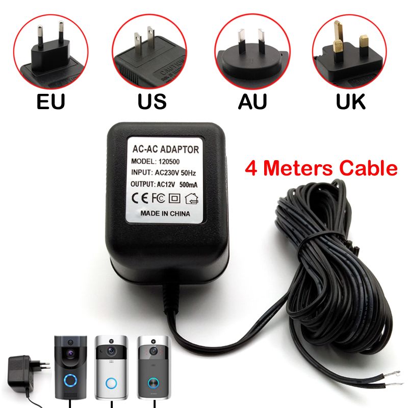 Power Adapter EU US AU UK Plug 12V AC Transformer Charger For Wifi Wireless Doorbell Camera IP Video Intercom Ring 120V-240V