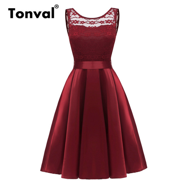 Tonval Vintage Silky Red Satin Summer A Line Dress Women Backless Party  Floral Lace Dress Soft 382884f40778