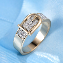 Shining Belt Rings for Women Tiny CZ Paved Cubic Zirconia Stone Accessories