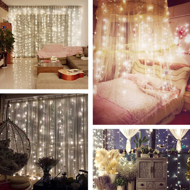 4,5x3 M 300 светодиодный 220 V Открытый праздничный декоративный свет красивый светодиодный сад для свадебной вечеринки декоративная штора струнная лампа Горячая Распродажа