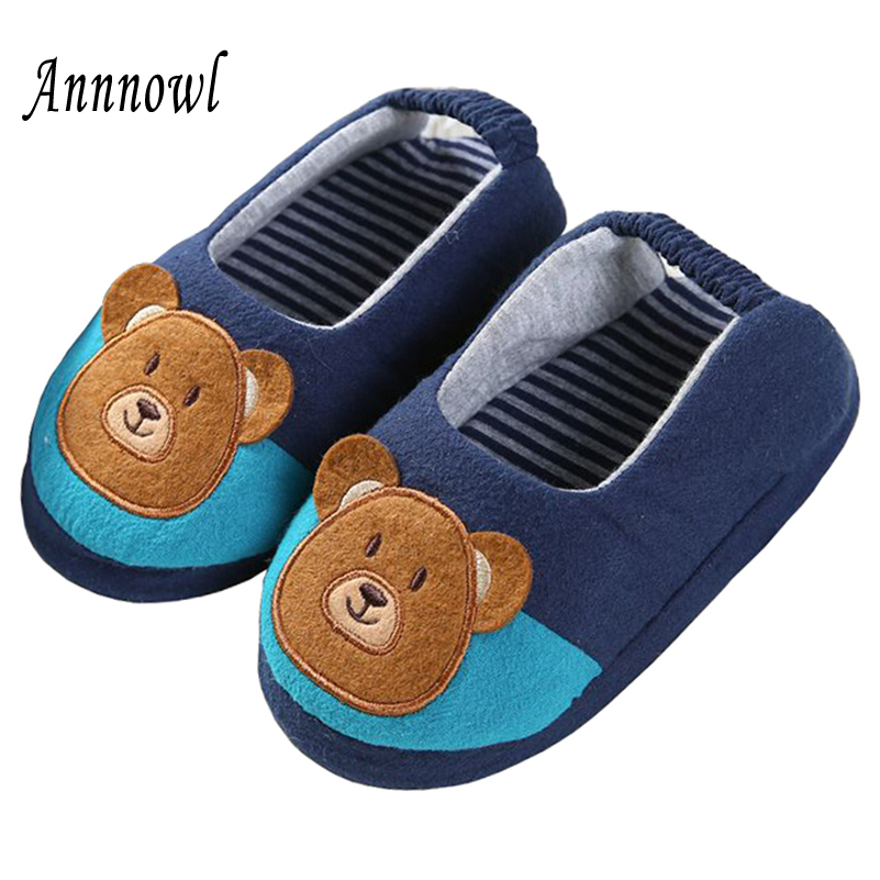 Toddler Baby Slippers Kids Shoes for Boys Cute Cartoon Bear Indoor Rubble Sole House Casual Garden Home Flats Children Slipper