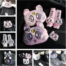 Candice guo! Super słodki pluszowe zabawki Sailor moon Luna kot na siedzenie w samochodzie zagłówek poduszka pod kark etui paska urodziny prezent na boże narodzenie 1pc tanie tanio Miękkie i pluszowe Zwierzęta Pp bawełna Pluszowe nano doll Tv movie postaci Dorośli Unisex take care G17072209