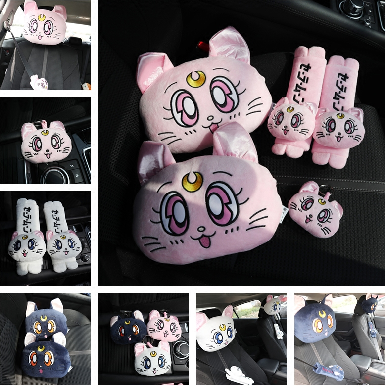 Candice guo! super cute plush toy Sailor moon Luna cat car chair headrest neck pillow belt cover birthday Christmas gift 1pc