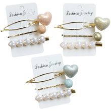 3Pcs/Set Sweet Macaron Candy Color Heart Women Hair Clips Faux Pearl Beading Alligator Hairpins Wedding Bridal Hair Accessorie цена 2017
