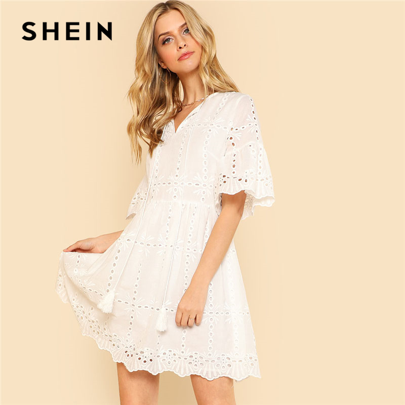 SHEIN White Tassel Tie Neck Cut Out Dress Women V Neck Flare Sleeve High Waist Dress 2018 Zipper Half Sleeve Plain Short Dress