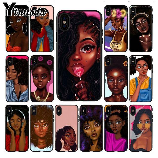 Yinuoda Beleza Africano Afro Puffs Preto Menina Melanina Poppin Pattern Caso Telefone Macio para iphone X XS MAX 8 7 além de 5S 6 s XR Tampa