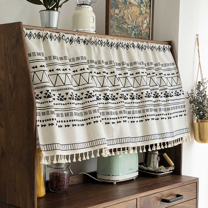 demi rideau en tissu coupe en coton et en lin de style national boheme rideau court romain pour porte d armoire de cuisine