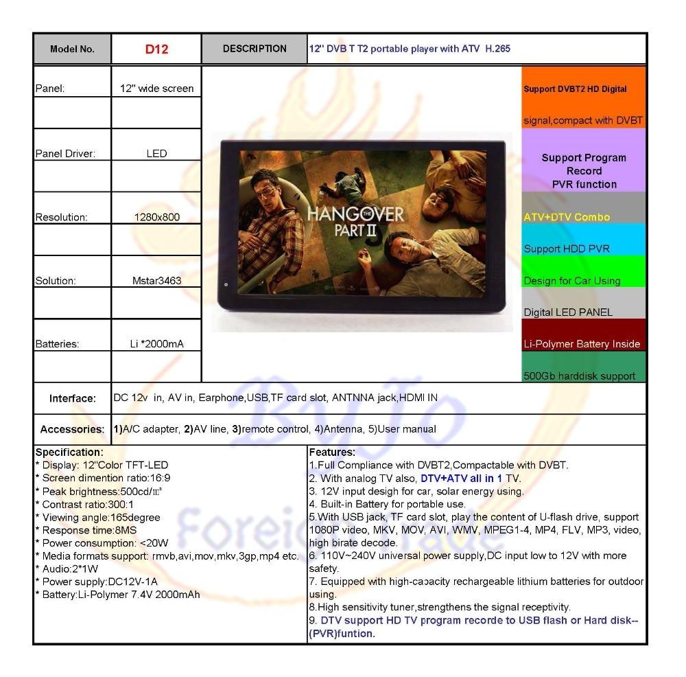 LEADSTAR D12 12 inch LED TV Digital Player AC3 DVB-T T2 ATSC Analog Digital  Portable TV Support HDMI USB TF TV programs Car charger gift