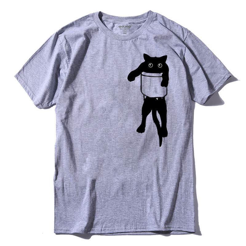 Unisex Black Cat in Pocket T-Shirt