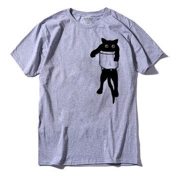 Unisex Black Cat in Pocket T-Shirt