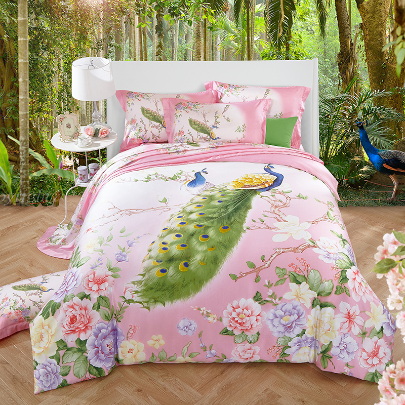 Peacock Butterfly Floral Bedding Set Queen King Size Duvet Cover Bed Sheets Pillowcase Summer Cool Tencel Material Home Textiles(China)