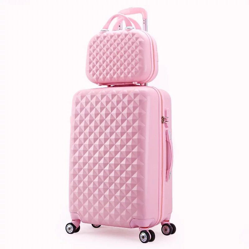 kids Lovely Rolling luggage set women trolley suitcase girls pink cute spinner brand carry on luggage travel bag vs cosmetic bag 韓国 厚底 スニーカー 白