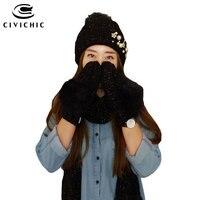 CIVICHIC Hot Moda Presente Conjunto Luvas Cachecol Chapéu de Malha Feminina Inverno Quente Engrossar Luvas Contas Pompom Gorros Headwear Xale SH173