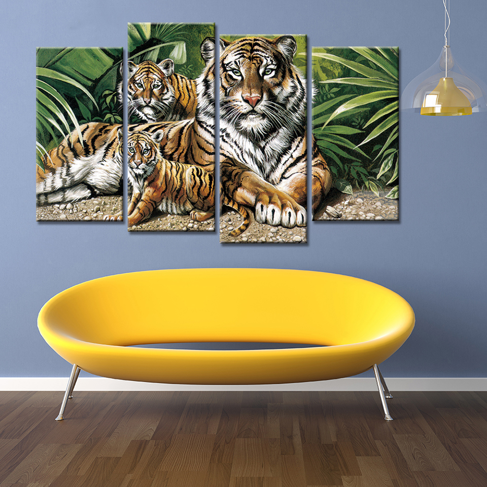 Posters Frame Living Room HD Printed On Canvas 4 Panel Tiger Animal ...