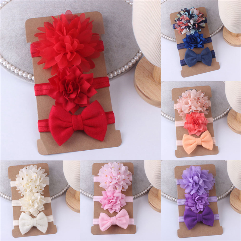 Baby Girl Headbands 3Pcs/set Baby Headbands Toddler Girls Hair Band Lovely Newborn Bow   Headwear