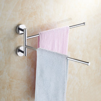 Brass Chrome Polished Dual Towel Bars Swivel Holders Towel Bars Rail Rack Bathroom Accessories