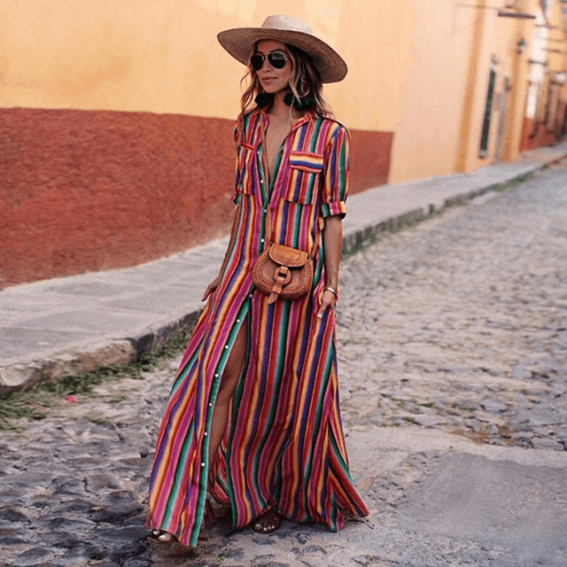 Women Beach Dress Long Plus Size 2019 Colour Stripes Pockets Shirt Blouse  Dress Ladies Beachwear Dresses Long Dresses Maxi Size ae43be8e30e2