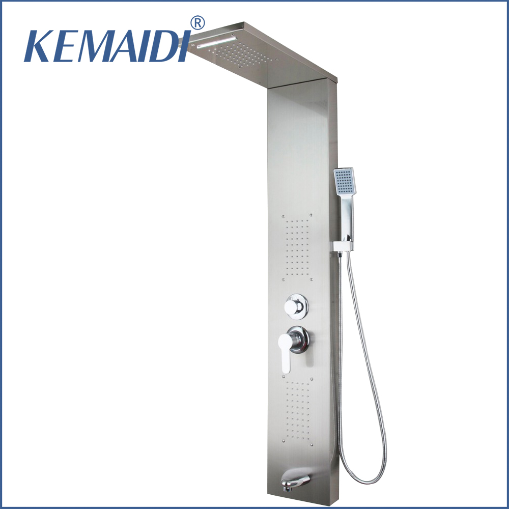 KEMAIDI Bathroom Faucet Tap Rainfall Shower Panel Rain Massage System Faucet with Jets Hand Shower Brushed Shower Column  ouboni new arrival bathroom rainfall shower panel rain massage system faucet with jets hand shower bathroom faucet tap mixer