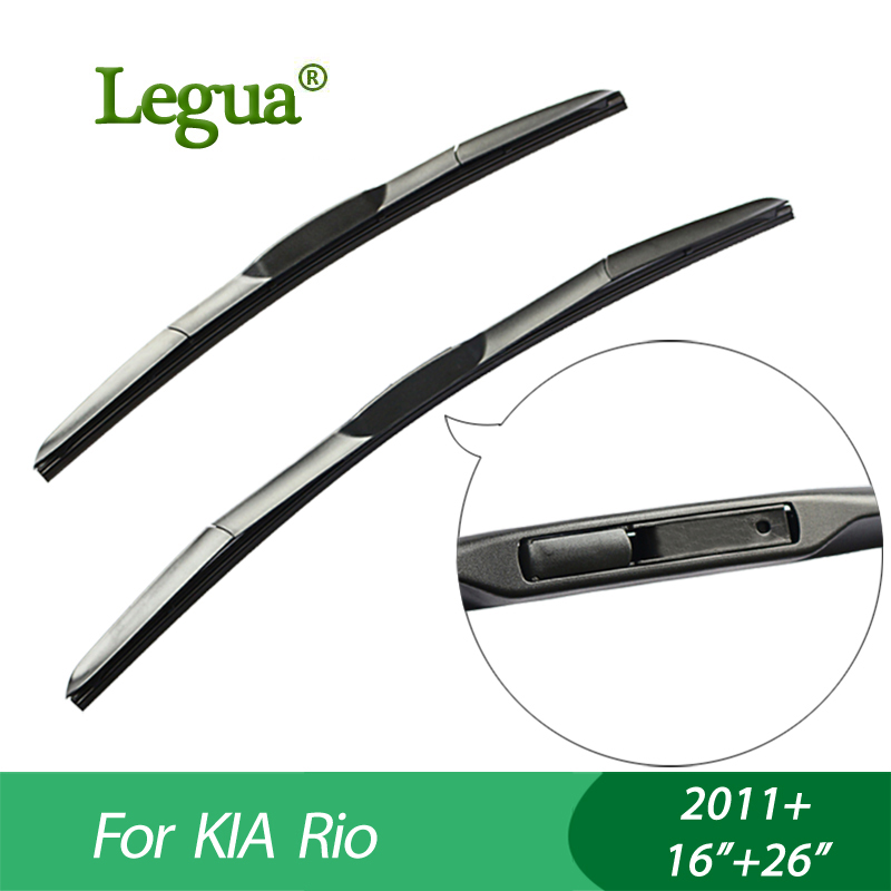 Legua Wiper blades For KIA Rio (2011+), 16+26,car wiper,3 Section Rubber, windscreen wiper, Car accessory