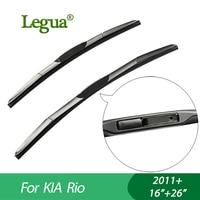 1 Set Wiper Blades For KIA Rio 2011 16 26 Car Wiper 3 Section Rubber Windscreen