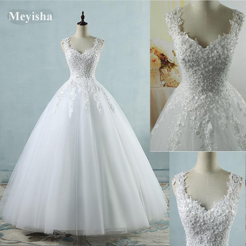 ZJ9076 New White Ivory Crystal Pearl Lace kāzu kleitas 2017 līgavas - Kāzu kleitas - Foto 2