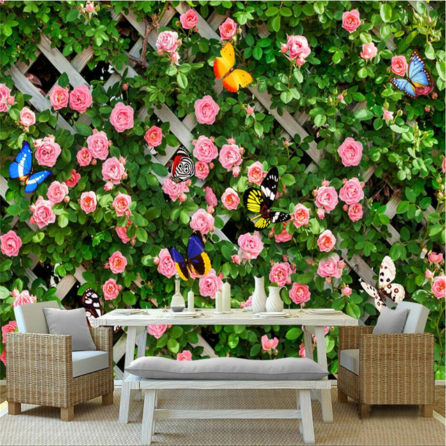 Custom any Size Garden Wallpaper Murals Romantic Pastoral Rose Photo ...