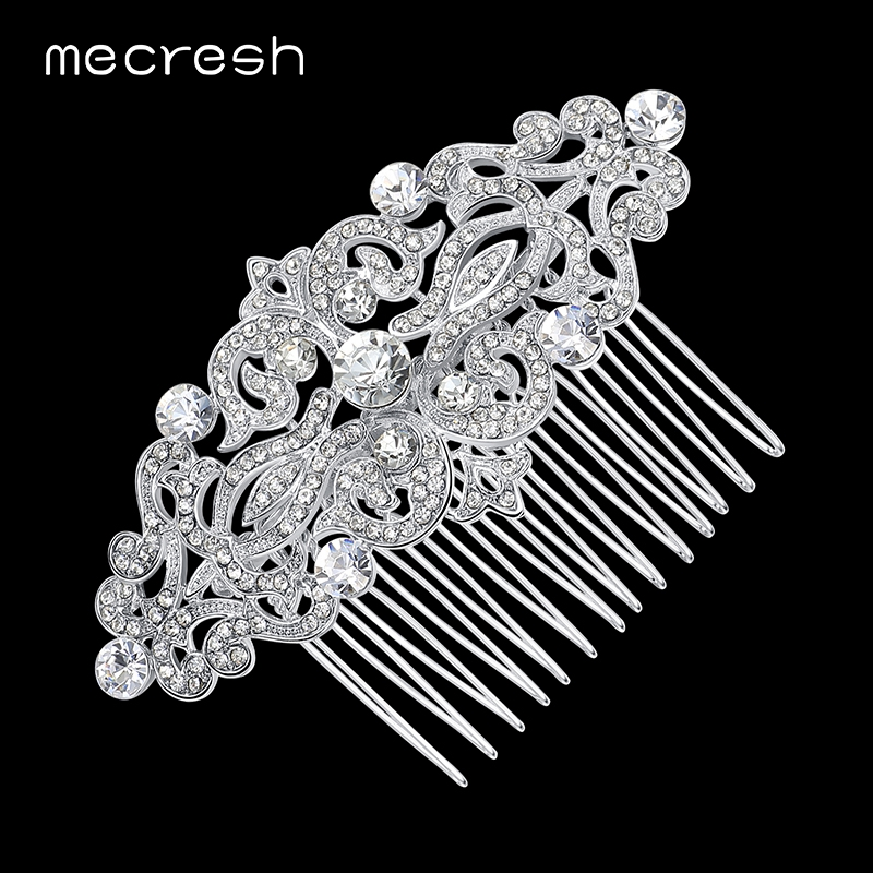 Mecresh European Design Floral Wedding Hair Accessories Silver Color Crystal Bridal Hair Comb Party Jewelry Christmas Gift FS066