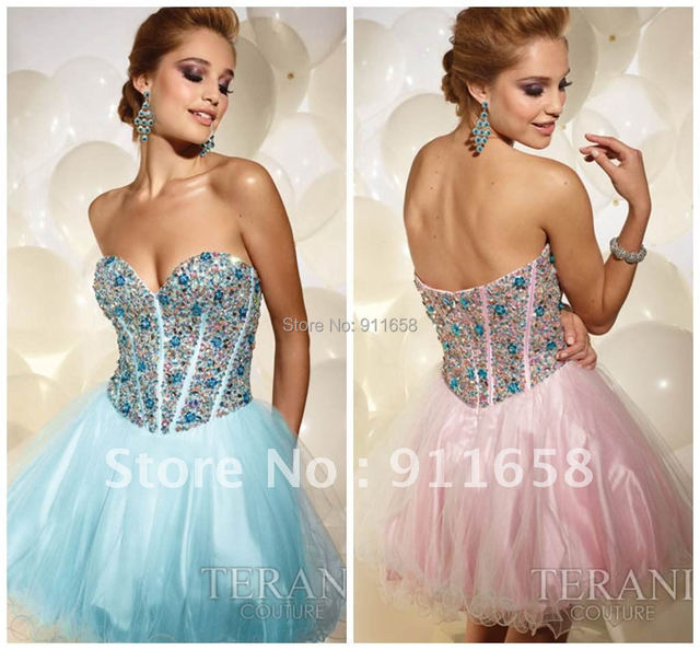 New Arrival Sweetheat Crystal Beaded Fashion New Style Organza Short Cocktail and Party Dresses