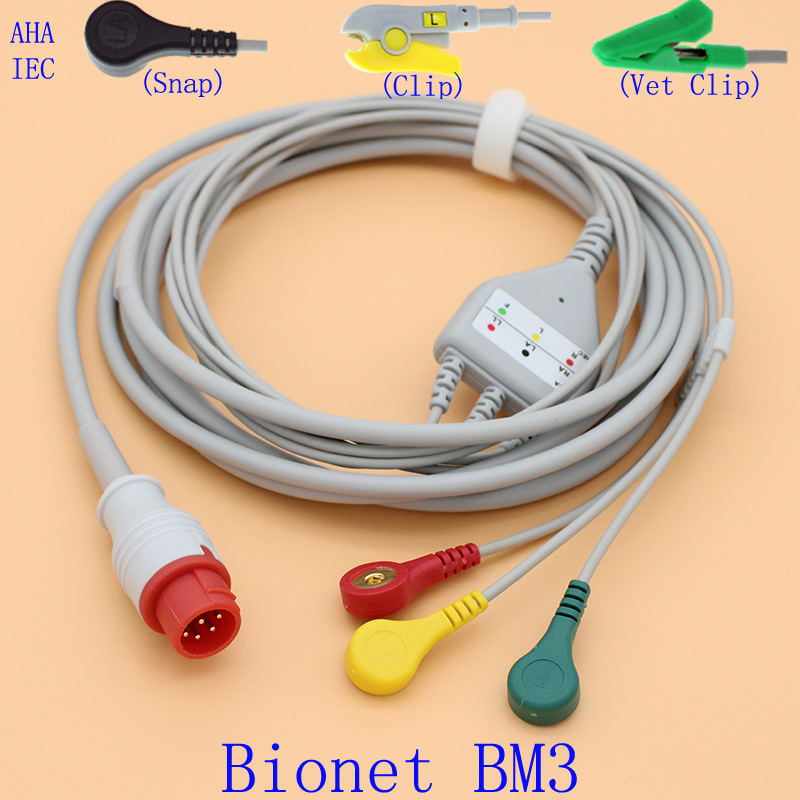8P ECG EKG 3 Leads Cable And Electrode Leadwire For Bionet BM3 With AHA/IEC/Snap/Clip/Vet Clip