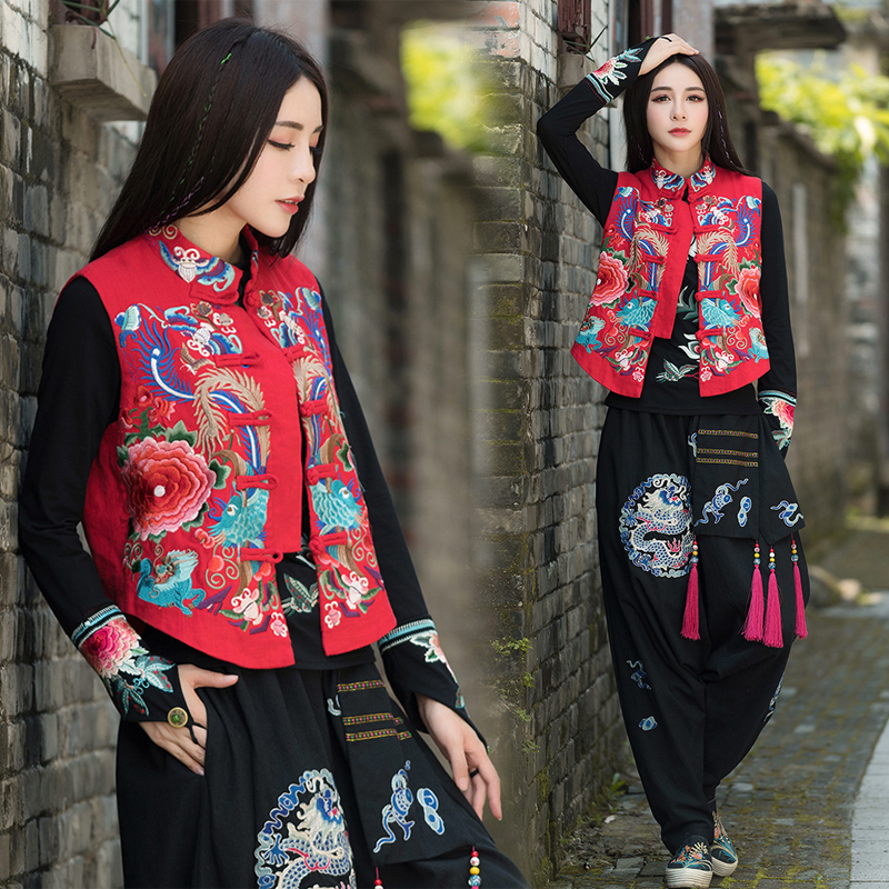 Women Autumn & Winter National Wind Retro Vest Embroidery Flower Animals Chinese Stand Collar Vest Coats Mori Harajuku Coat