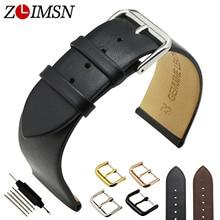ZLIMSN Souple En Cuir Véritable Bande de Montre 18 20 22mm Brun noir Lisse Mince Montre Bracelet En Acier Inoxydable Boucle Relojes Hombre 2017