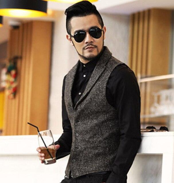 High Quality 2016 New Brand Dress Suit Vest Men Fashion Gray Formal Business Men Party Vests Slim Fit Men Casual Outwear