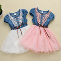 New Arrival Toddler Baby Jeans Lace Flower Tutu Dress Kid Girl Demin Clothes Baby Girl's Summer Clothing Party Wedding Dresses
