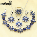 Amazing Blue Created Sapphire White Created Topaz Four Piece Women Jewelry Set Silver Color Ring Size 6/7/8/9/10 Women Wedding