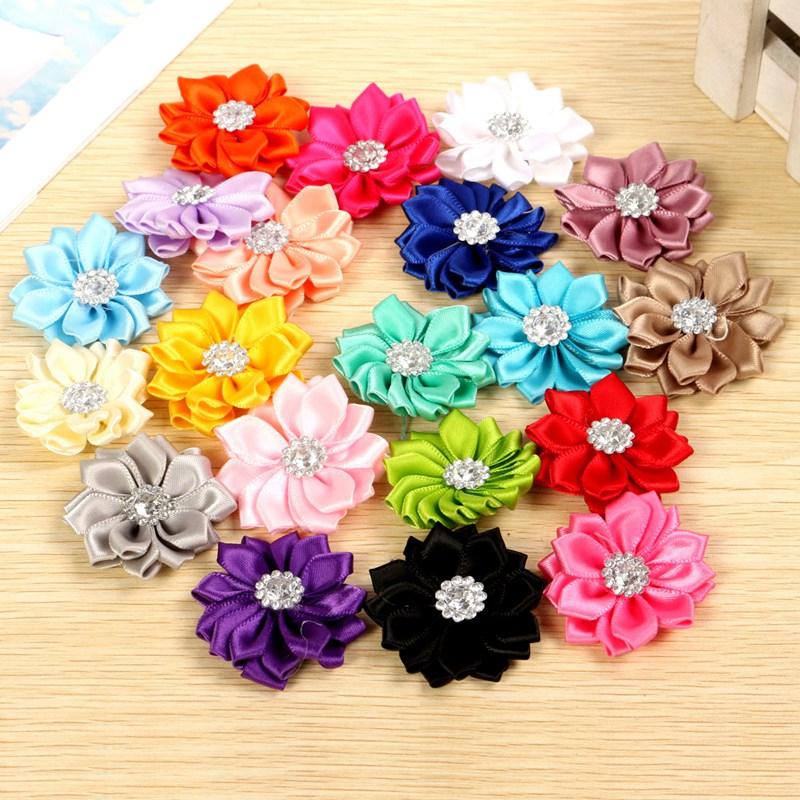 20pcs Satin Ribbon Flowers Bows Rose W Bead Diy Wedding Decor Appliques B94 China