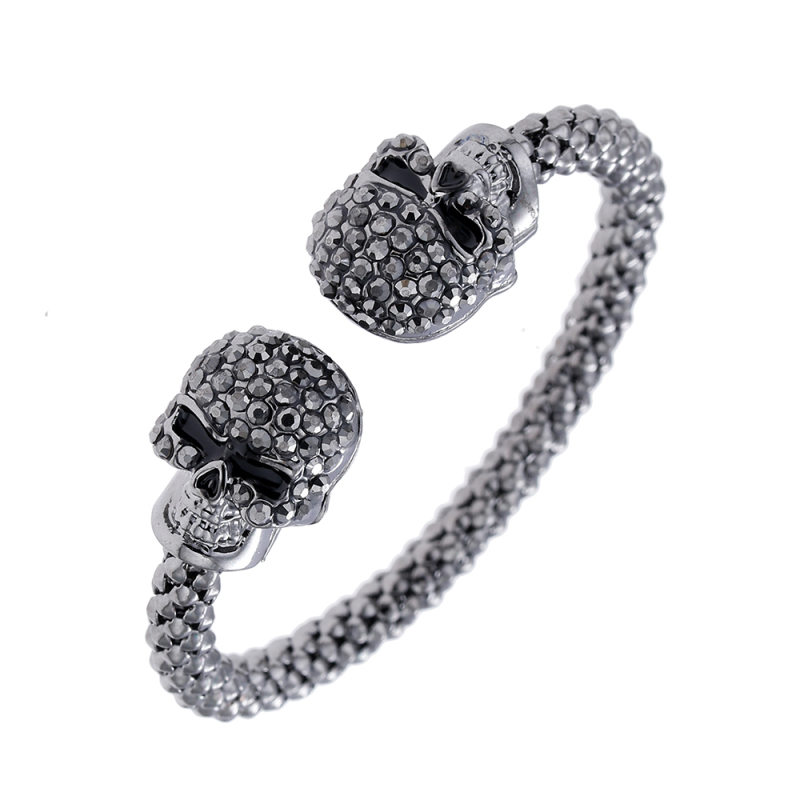 Punk Skull Crystal Open Bangle For Men 3 Color Gothic Skeleton Double Skull Heads Cuff Bracelets & Bangles Men's Jewelry 6