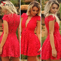 2016 V Neck Red Sexy Homecoming Dresses With Cap Short Sleeves Special Occasion mini Lace Short formal Party Dresses prom gowns